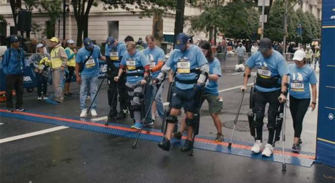 Group shot of runners in crutches
