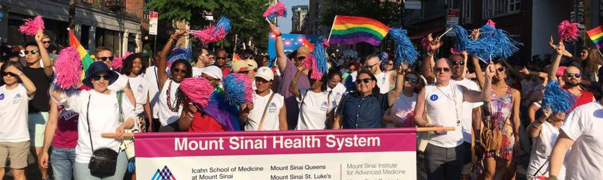 LGBT parade with walkers holding Mount Sinai banner