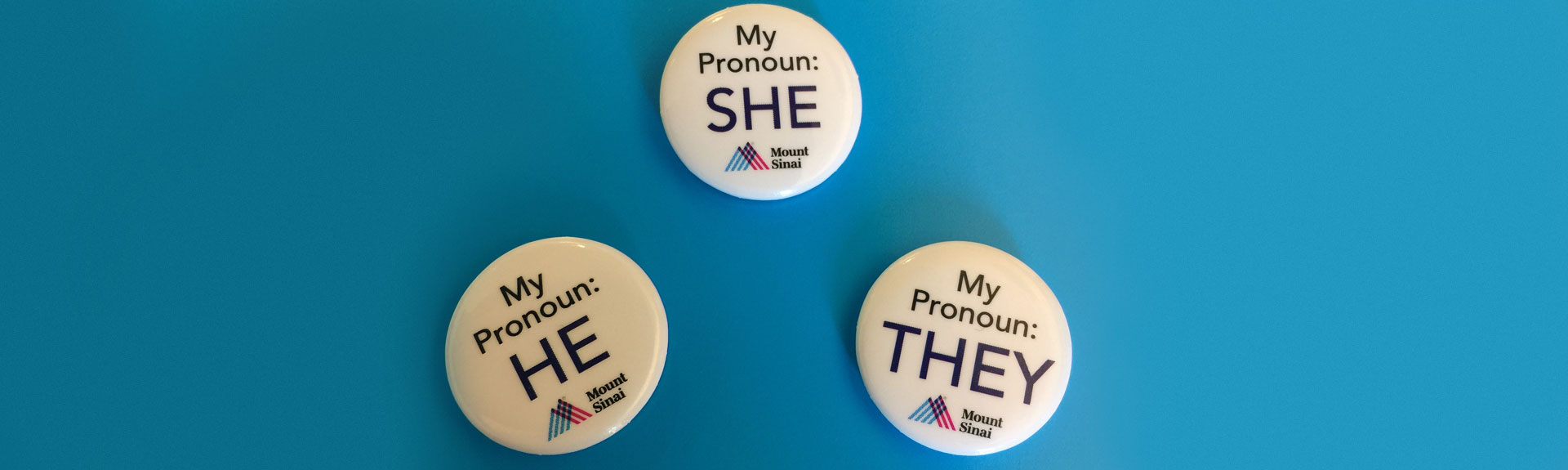 Buttons with She, He, and They pronouns