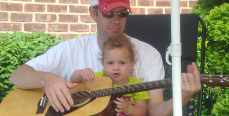 Father and Daughter playing the guitar