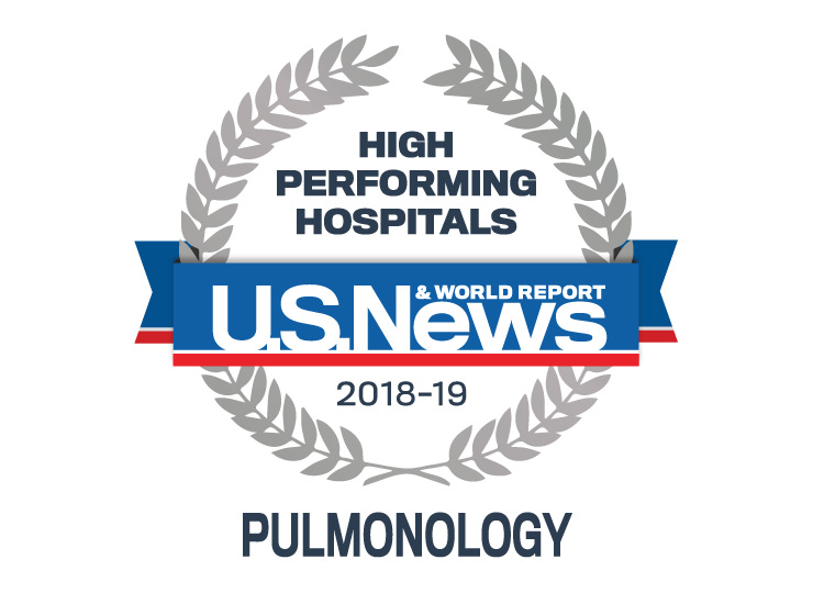 Photo of US News badge indicating Pulmonology was high performing for the 2018-2019 year