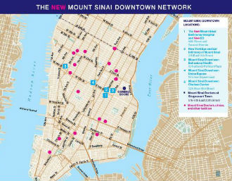 Map of Mount Sinai Downtown