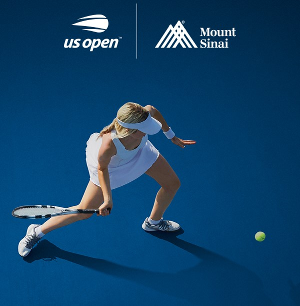 Photo of Woman playing tennis about to return the ball. The US Open and Mount Sinai logos are at the top of the image