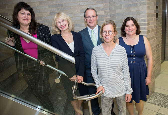 A photo of Judith Weissman, PhD, JD, MPH; Dolores Malaspina, MD, MSPH, MS; David Kimhy, PhD; Lotje de Witte, MD, PhD; and Cheryl Corcoran, MD.
