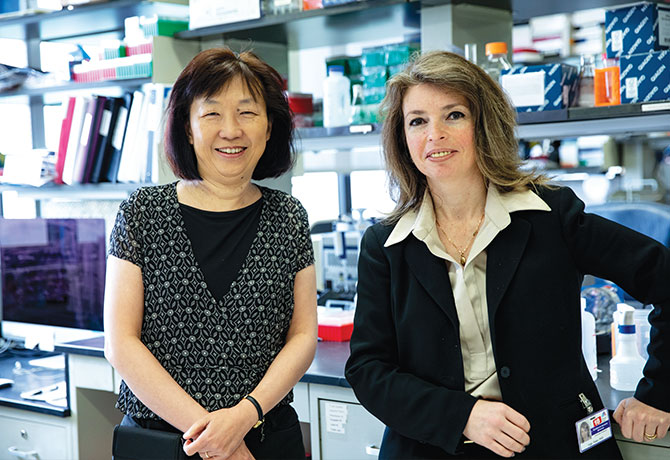 A photo of Judy H. Cho, MD, and Inga Peter, PhD