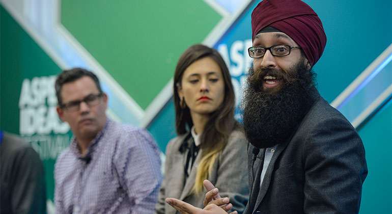 "Prabhjot Singh, MD, PhD, in the panel discussion ""Creating Value on the Fringe: Social Entrepreneurs."""