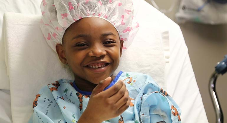 Image of eight year old girl before surgery