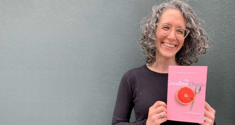"Marisa Bardach Ramel pictured with her book, ""The Goodbye Diaries: A Mother-Daughter Memoir"""
