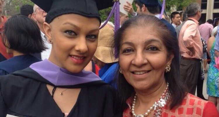 Tanya Bhatia with her mother