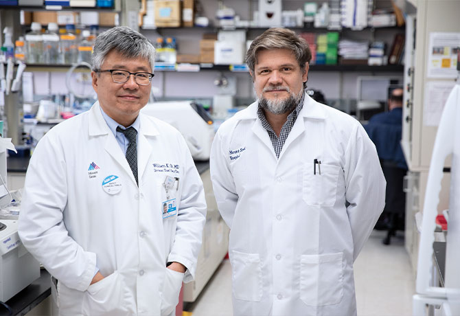A photo of William Oh, MD, and Julio Aguirre-Ghiso, PhD