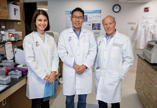 From left: Esra Karakose, PhD, Peng Wang, PhD, and Andrew F. Stewart, MD