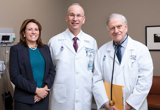 A photo showing Valentin Fuster, MD, PhD, David L. Reich, MD, and Beth Oliver, DNP, RN