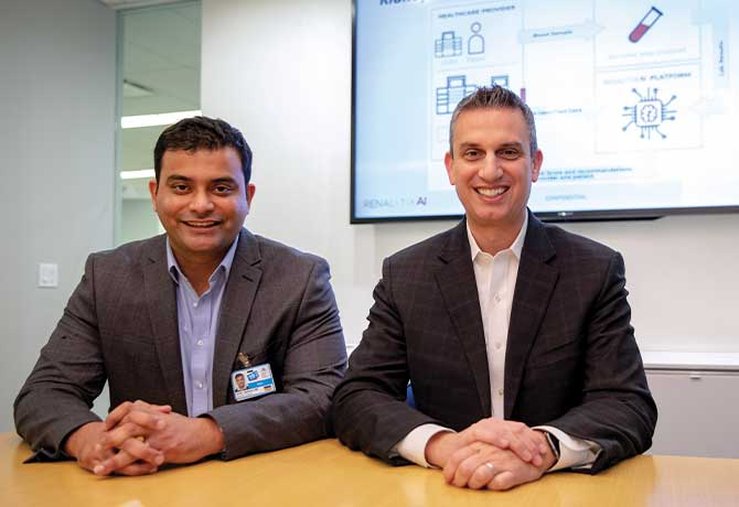 A photo shows Girish Nadkarni, MD, MPH, and Steven Coca, DO, MS, who are using artificial intelligence to more effectively identify and treat kidney disease.
