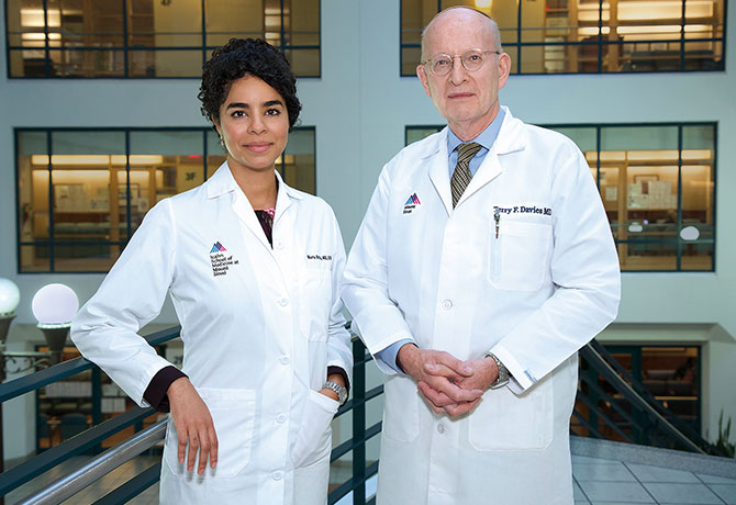 A photo of Maria Brito, MD, Director of the Mount Sinai Thyroid Center at Union Square, and Terry F. Davies, Co-Director