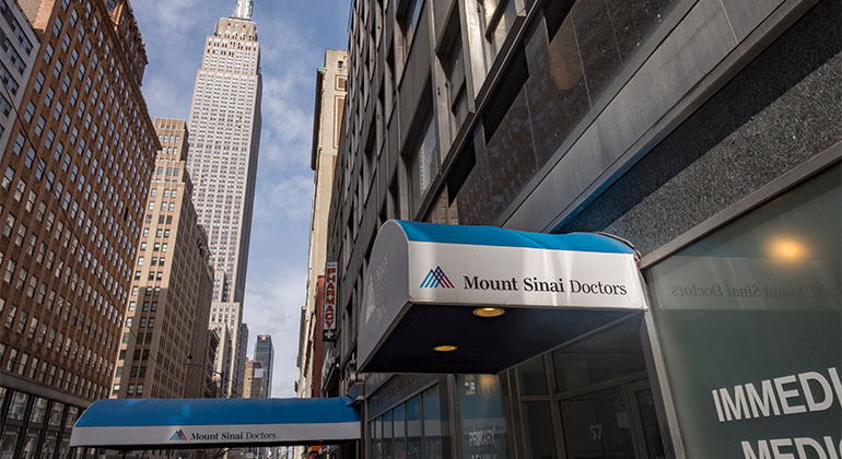 Mount Sinai Doctors logo on awning outside of East 34th Street location