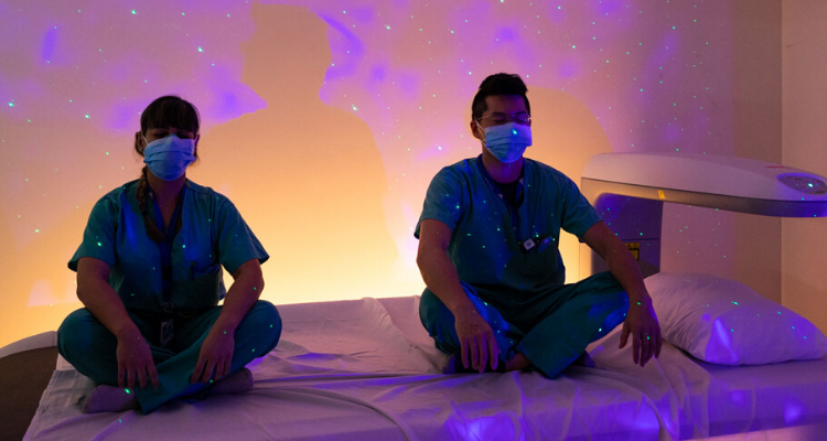 medical professionals relaxing in meditation room