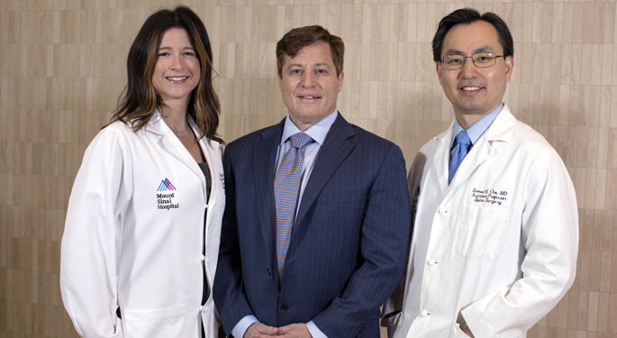 Orthopedic surgeons, Dr. Abigail Allen, Dr. Barron Lonner, and Dr. Samuel Cho, lead physicians of the Young Spine Program