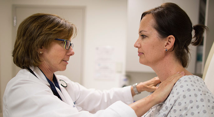 Image of doctor with breast cancer patient