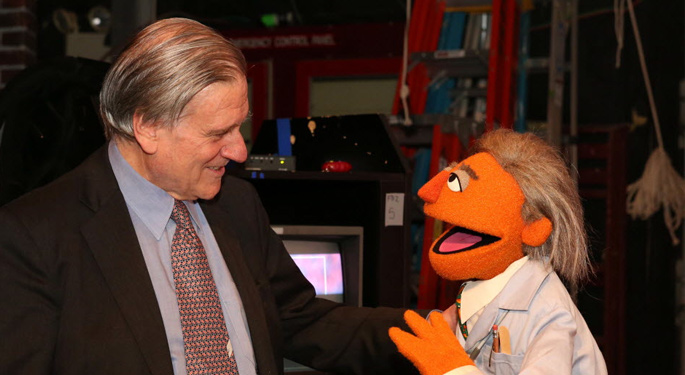 Image of Doctor Fuster and Sesame Street character
