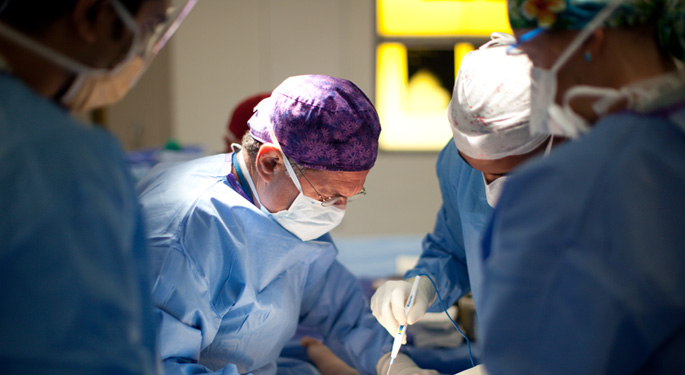 Image of orthopedic surgeons during surgical procedure
