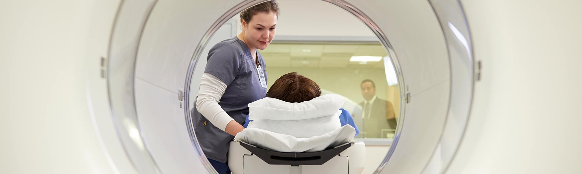 Patient in an imaging machine