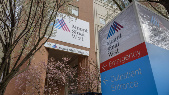 exterior shot of Mount Sinai West Emergency and Outpatient sign