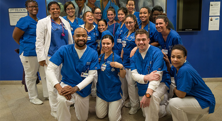 Phillips School of Nursing group of diverse students